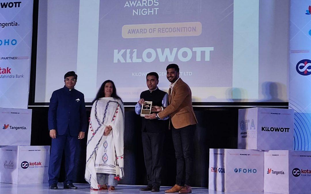 Kilowott bags two awards at the prestigious Goa Technology Association Awards